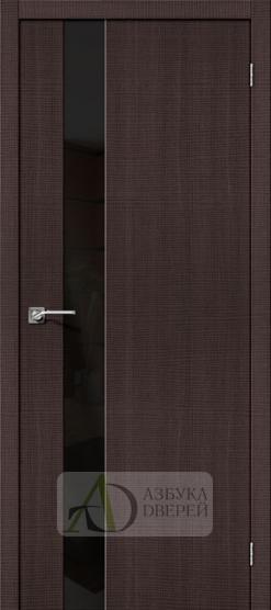 Межкомнатная дверь с экошпоном Порта-51 Wenge Crosscut со стеклом Lacobel