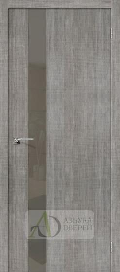 Межкомнатная дверь с экошпоном Порта-51 Grey Crosscut со стеклом Lacobel