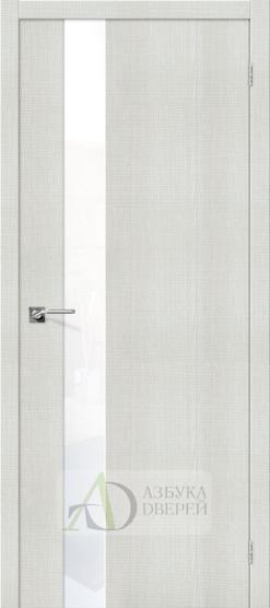 Межкомнатная дверь с экошпоном Порта-51 Bianco Crosscut со стеклом Lacobel