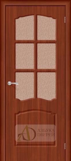 Межкомнатная дверь с ПВХ-пленкой Альфа ПО миланский орех