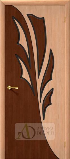 Межкомнатная шпонированная дверь Дуэт ПГ Дуб/Орех