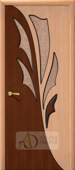 Межкомнатная шпонированная дверь Дуэт ПО Дуб/Орех