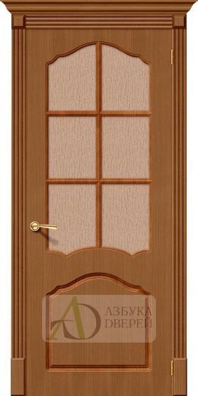 Межкомнатная шпонированная дверь Каролина ПО Орех файн-лайн