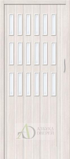 Межкомнатная раздвижная дверь (Гармошка) Браво-018 Белый дуб