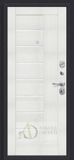 Стальная дверь Оптим Модерн П-28 Темная Вишня/Bianco Veralinga